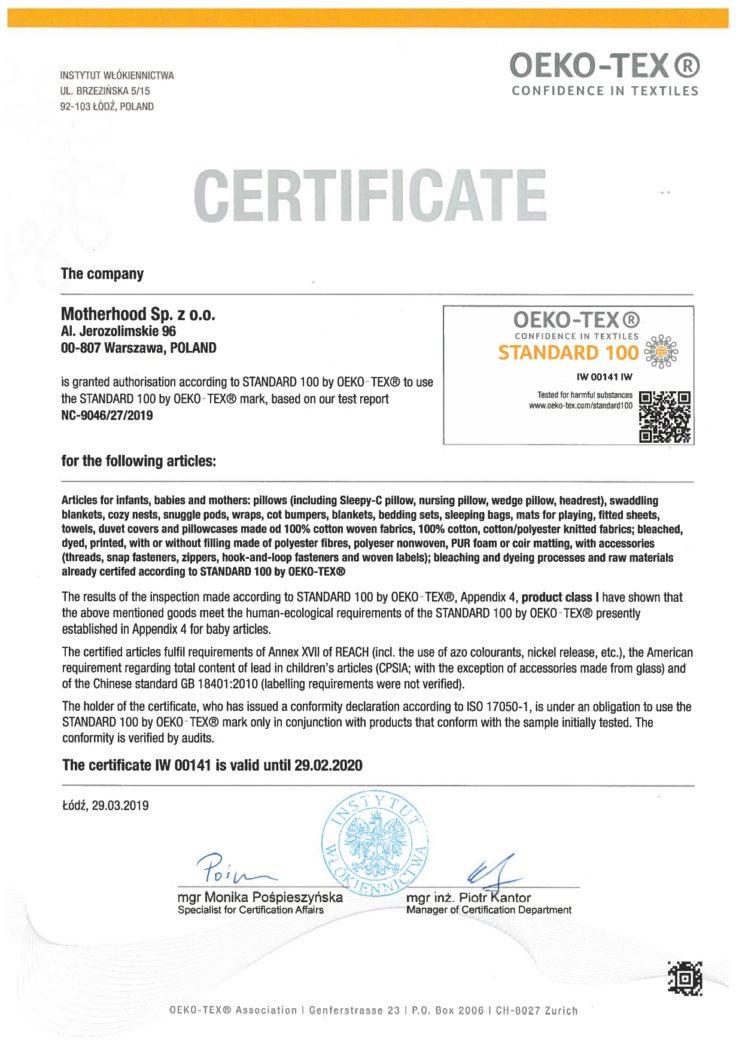 Motherhood certyfikat Oeko-Tex